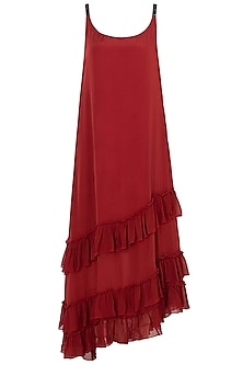 Burnt Red A-Line Dress