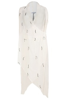 Off White Asymmetrical Wrap Dress