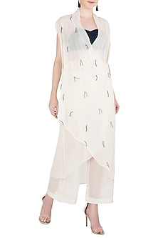 Off White Asymmetrical Wrap Dress by Asmita Marwah