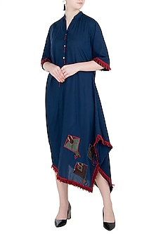 Indigo Blue Side Cowl Dress by Asmita Marwah
