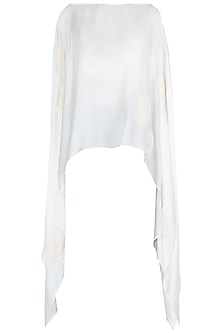 White Crushed Voile Flowers Poncho