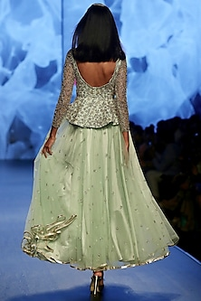 Pale Green Embroidered Lehenga Skirt With Peplum Top by Ashwini Reddy