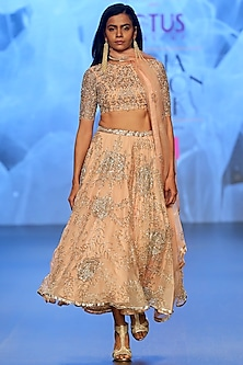 Peach & Nude Embroidered Lehenga Set by Ashwini Reddy