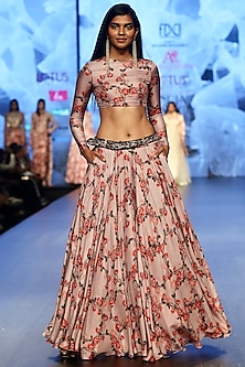Lilac Printed Lehenga Skirt With Crop Top & Embroidered Belt by Ashwini Reddy