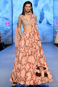 Pastel Pink Printed Lehenga Skirt With Crop Top, Long Scarf & Embroidered Belt by Ashwini Reddy