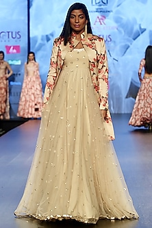 Cream Embroidered Gown With Printed Jacket by Ashwini Reddy