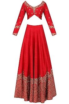 Red Zari Embroidered Lehenga Set