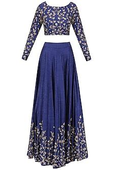 Blue Zari Embroidered Lehenga Set