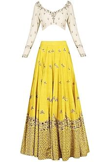 Mustard Embroidered Lehenga Set