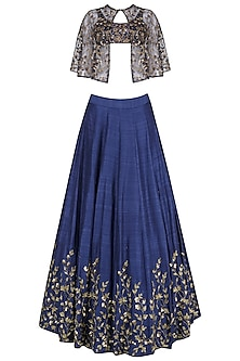 Blue Sequins Embroidered Lehenga with Cape Set
