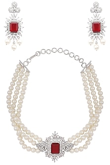 Silver Finish White and Red Zircons and Pearl Strand Choker Necklace Set by Aster