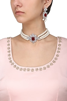 Silver Finish White and Red Zircons and Pearl Strand Choker Necklace Set