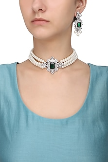 Silver Finish White and Green Zircons and Pearl Strand Choker Necklace Set