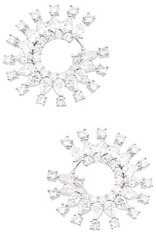 Silver Finish White Zircons Circular Hoop Earrings by Aster
