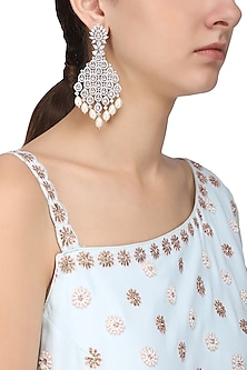 Silver Finish White Zircons and Pearl Dangler Earrings by Aster