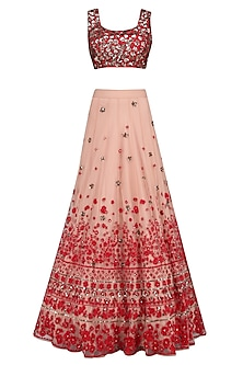 Peach and Red Floral Thread and Sequins Embroidered Lehenga Set