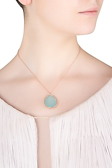 Rose Gold Finish Aqua Chalcedony Pendant Set