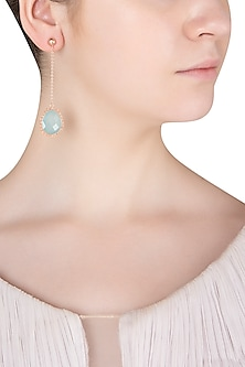 Rose Gold Finish Aqua Chalcedony Earrings
