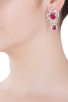 Rose Gold Finish Zircon and Red Stones Earrings