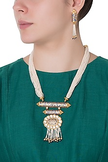 Gold Finish Kundan and Blue Enamel Pearls Necklace Set