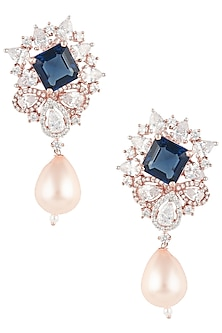 Rose Gold Finish Zircon, Blue Stone and Pearl Earrings by Aster