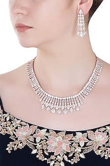 Rose Gold Finish Zircons and Baguette Necklace Set by Aster