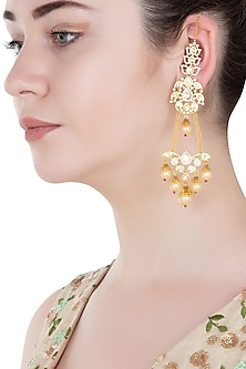 Gold Finish Kundan and Pearls Dangler Earrings
