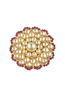 Gold Finish Kundan and Red Beads Ring by Aster