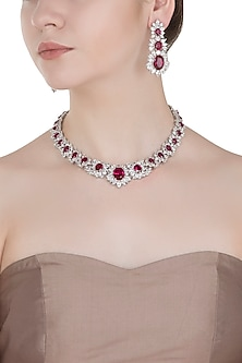 White Gold Finished Faux Ruby Necklace