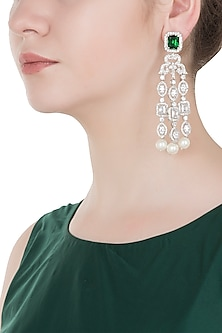 White Gold Finished Chandelier Earrings by Aster