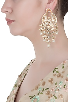 Gold Finished Dangling Pearl Earrings by Aster