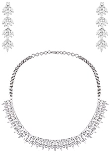 Silver Zircon Necklace by Aster