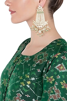 Gold Kundan Dangler Earrings