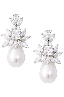 Silver Zircon and Pearl Drop Earrings by Aster