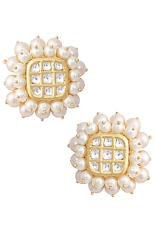 Gold Oversized Kundan Stud Earrings by Aster