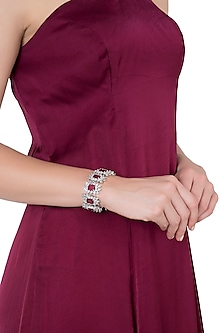 Silver Faux Ruby and Zircon Bracelet