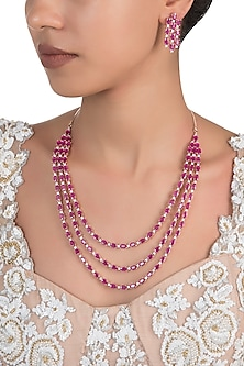 Silver Plated Red Faux Ruby 3 Line Necklace Set
