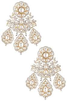 Gold plated statement kundan earrings by ASTER