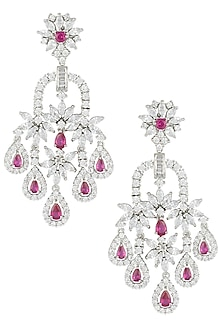 Silver Plated Faux Ruby Floral Dangler Earrings by Aster
