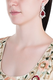 Silver Plated Faux Ruby Dangler Earrings by Aster