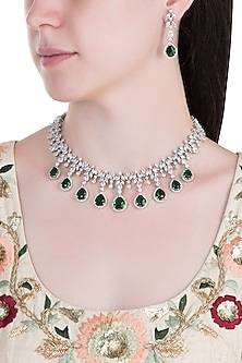 Silver Plated Faux Emerald Necklace