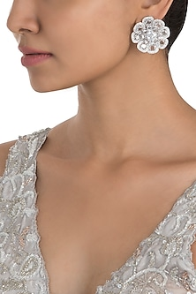 Silver Plated Faux Rose Cut Diamond Stud Earrings