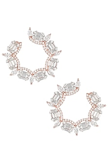Silver Plated Faux Diamond Earrings In Rose Gold Polish by Aster