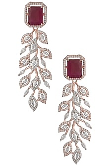 Rose Gold Plated Faux Single Ruby and Diamond Dangler Earrings by Aster