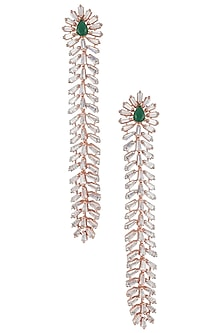 Silver Plated Faux Emerald and Diamond Baguette Dangler Earrings by Aster