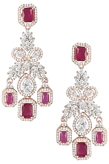 Rose Gold Plated Faux Ruby and Diamond Dangler Earrings by Aster
