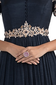 Silver Plated Faux Ruby and Diamond Ring by Aster
