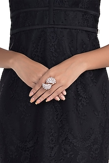 Silver Plated Faux Diamond Flower Ring