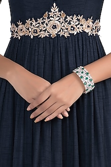 Silver Plated Faux Emerald and Diamond Bracelet
