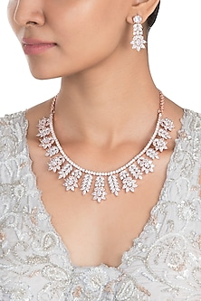 Silver Plated Faux Diamond Flare Necklace Set
